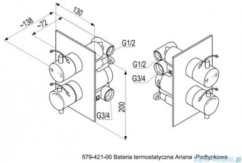 KFA Ariana bateria natryskowa podtynkowa termostatyczna kolor chrom 579-421-00