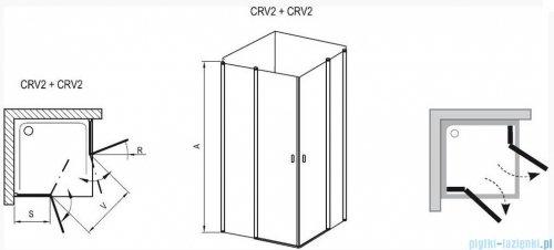 Ravak Chrome Kabina prysznicowa narożna, jedna połowa CRV2-90 biała+transparent 1QV70100Z1