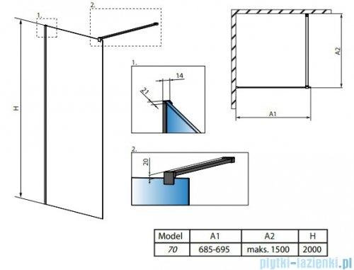 Radaway Modo X II kabina Walk-in 70x200 szkło przejrzyste 10mm 389274-01-01