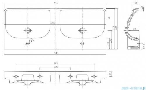Koło Traffic umywalka meblowa podwójna 120cm z dwoma otworami przelewami i powłoką Reflex L91521900