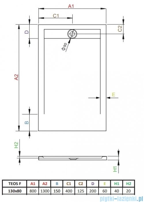 Radaway Teos F brodzik 130x80cm cemento HTF13080-74