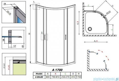 Radaway Premium Plus A Kabina półokrągła 80x80 wysokość 170cm szkło grafitowe 30411-01-05N
