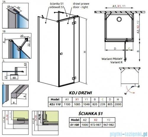 Radaway Essenza New Kdj+S kabina 100x110x100cm prawa szkło przejrzyste 385023-01-01R/384052-01-01/384052-01-01