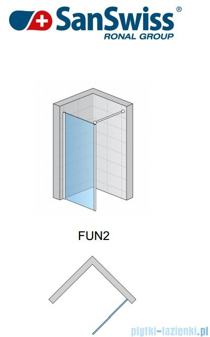 SanSwiss Fun Fun2 kabina Walk-in 100cm profil połysk FUN210005007