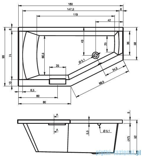 Riho Geta wanna asymetryczna 160x90cm prawa nóżki+syfon BA86/09/AMC55