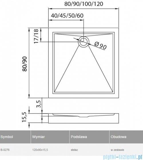 New Trendy Cantare brodzik prostokątny 120x90x15,5cm B-0276