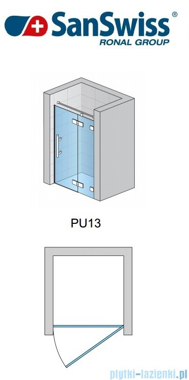 SanSwiss Pur PU13 Drzwi 1-częściowe wymiar specjalny profil chrom szkło Satyna Prawe PU13DSM11049