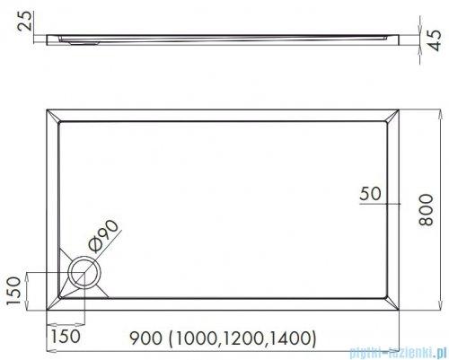 Schedpol Schedline Estima brodzik prostokątny 90x80x4,5cm 3SP.E2P-8090