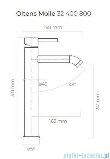 Oltens Molle bateria umywalkowa wysoka złota 32400800