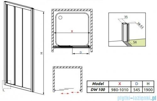 Radaway Treviso DW Drzwi wnękowe 100 szkło brązowe 32323-01-08N