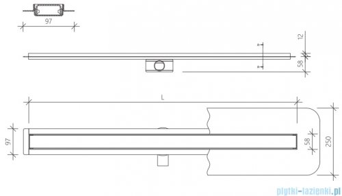 Wiper Premium Slim Mistral Odpływ liniowy 60 cm z kołnierzem WPS600MI