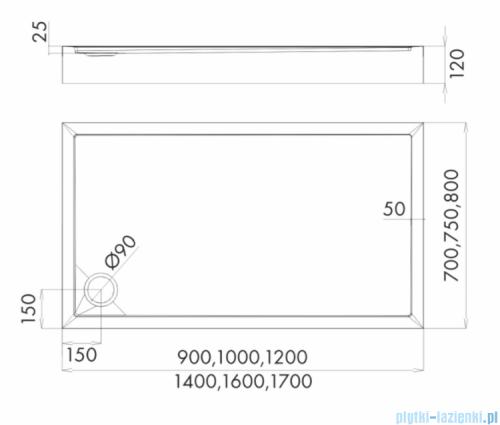 Schedpol Competia New brodzik prostokątny z SafeMase 90x75x12cm 3.4675