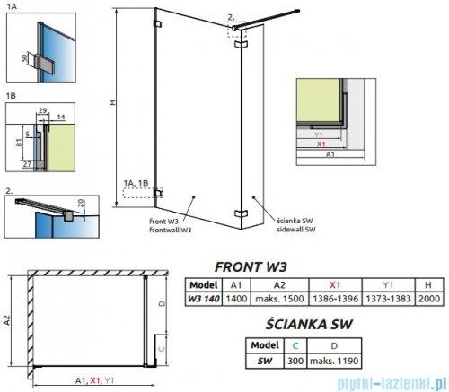 Radaway Euphoria Walk-in II kabina 140cm szkło przejrzyste rysunek techniczny