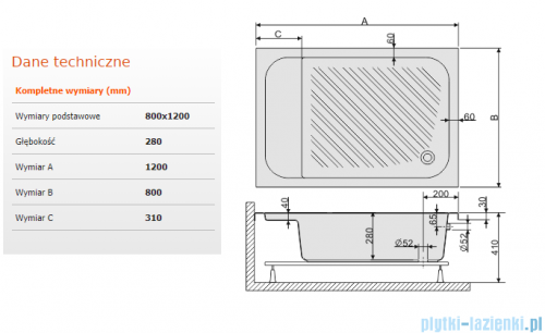 Sanplast Classic brodzik prostokątny 120x80x28cm z siedziskiem+stelaż 615-010-0540-01-000