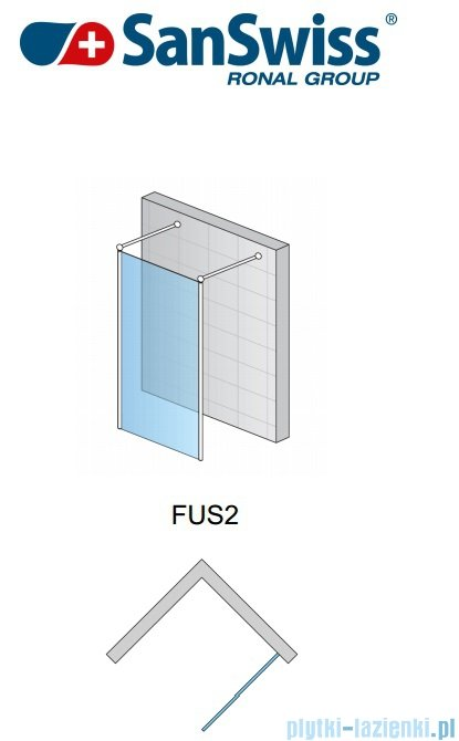 SanSwiss Fun Fus2 kabina Walk-in 120cm profil połysk FUS212005007