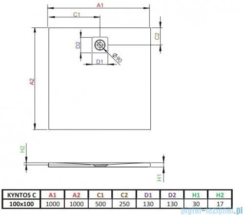 Radaway Kyntos C brodzik kwadratowy 100x100cm biały HKC100100-04