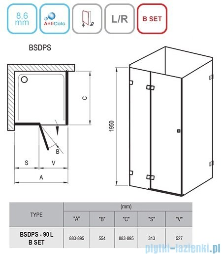 Ravak Brilliant BSDPS kabina kwadratowa 90x90cm lewa transparent 0UL77A00Z1