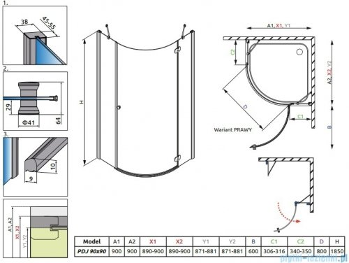 Radaway Torrenta PDJ kabina półokrągła 90x90 prawa szkło grafitowe 31800-01-05N