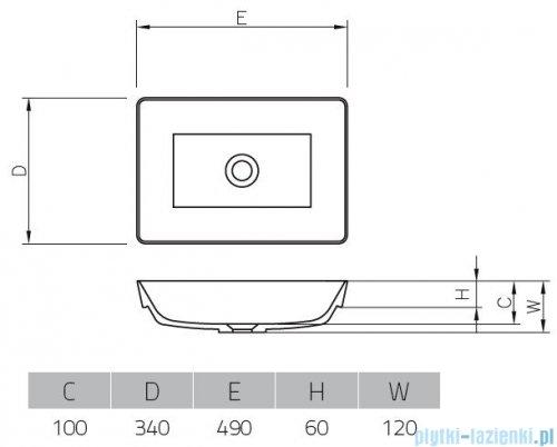 Vayer Citizen Vela-A 49x34cm umywalka blatowa prostokątna