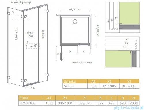 Radaway Arta Kds II kabina 100x90cm prawa szkło przejrzyste 386521-03-01L/386103-03-01/386111-03-01
