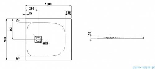 Laufen Solutions brodzik prostokątny 100x90cm biały H2154430000001