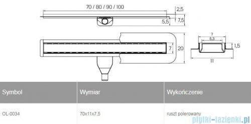 New Trendy Vimo odpływ liniowy z rusztem polerowanym 70x11x7,5 cm OL-0034