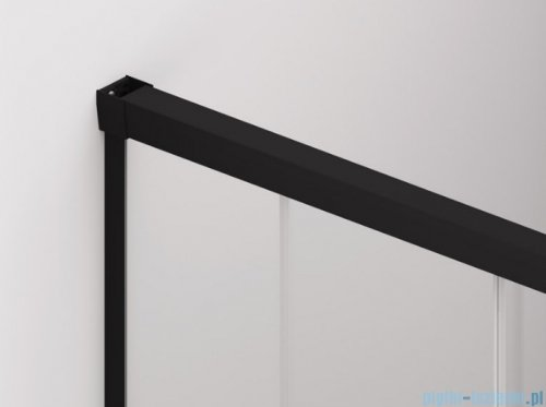 SanSwiss Cadura Black Line kabina Walk in 110cm lewa ze ścianką przesuwną profile czarny mat CAW2G1100607