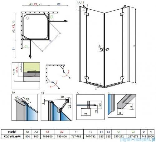 Radaway Fuenta New Kdd kabina 80x80cm szkło przejrzyste 384061-01-01L/384061-01-01R