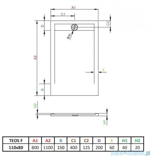 Radaway Teos F brodzik 110x80cm czarny HTF11080-54