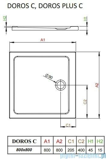 Radaway Doros Plus C Brodzik kwadratowy 80x80x4,5cm SDRPC8080-01