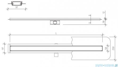 Wiper Premium Slim Mistral Odpływ liniowy 90 cm z kołnierzem rysunek techniczny
