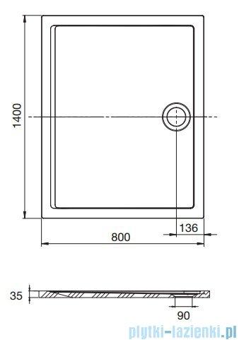 Roca Aeron brodzik prostokątny 140x80x3,5cm biały + syfon A276286100