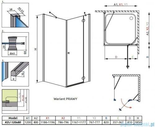 Radaway Torrenta Kdj kabina 120x80 prawa szkło przejrzyste 32232-01-01NR