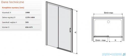 Sanplast Free Zone drzwi przesuwne D2L/FREEZONE 140x190 cm lewe przejrzyste 600-271-3190-38-401