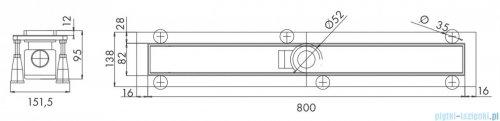 Omnires odpływ liniowy do zabudowania płytkami 80cm inox SIMPLE80