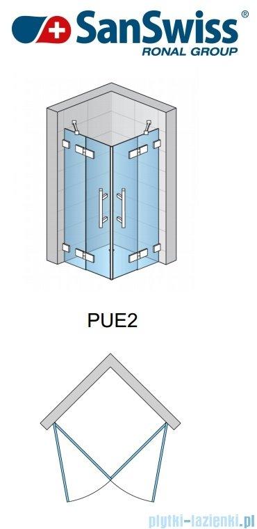 SanSwiss Pur PUE2 Wejście narożne 2-częściowe 75-120cm profil chrom szkło Pas satynowy Prawe PUE2DSM11051
