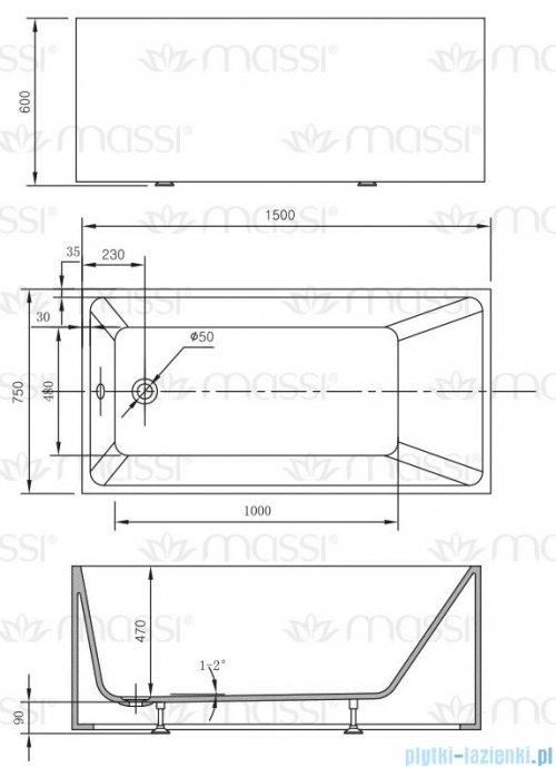 Massi Exodia wanna wolnostojąca z przelewem 150x75cm biała + syfon MSWA-1101150P