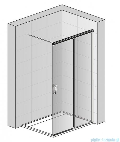 SanSwiss Cadura Black Line kabina Walk in 180cm prawa ze ścianką przesuwną profile czarny mat CAW2D1800607