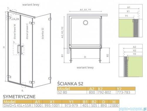 Radaway Arta Dwd+s kabina 100 (45L+55R) x80cm lewa szkło przejrzyste 386181-03-01L/386053-03-01R/386110-03-01