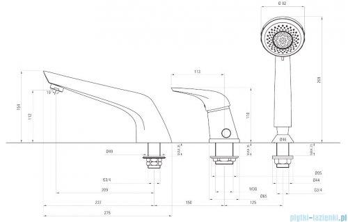 Deante Jaguar Line bateria wannowa 3-otworowa chrom BDX 013M