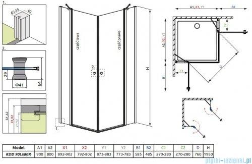 Radaway Eos II KDD kabina prysznicowa 90x80 szkło przejrzyste 3799461-01L/3799460-01R
