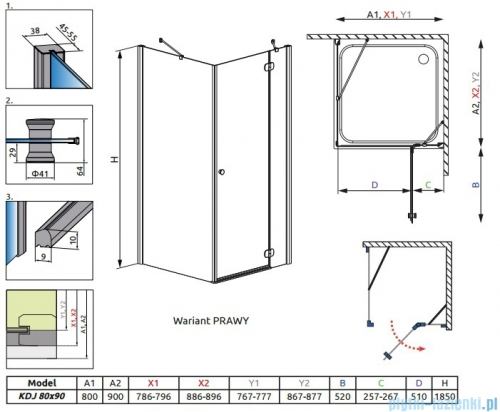 Radaway Torrenta Kdj Kabina prysznicowa 80x90 prawa szkło przejrzyste rysunek techniczny