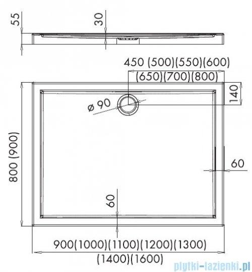 Novellini Kali A brodzik prostokątny 70x80x5,5cm MNS70806-30