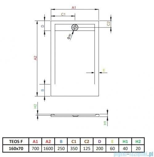 Radaway Teos F brodzik 160x70cm antracyt HTF16070-64