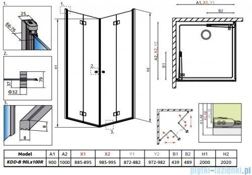 Radaway Essenza New Kdd-B kabina 90x100cm przejrzyste bez listwy progowej 385071-01-01LB/385072-01-01RB