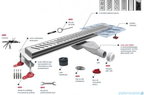 Wiper New Premium Zonda Odpływ liniowy z kołnierzem 60 cm szlif