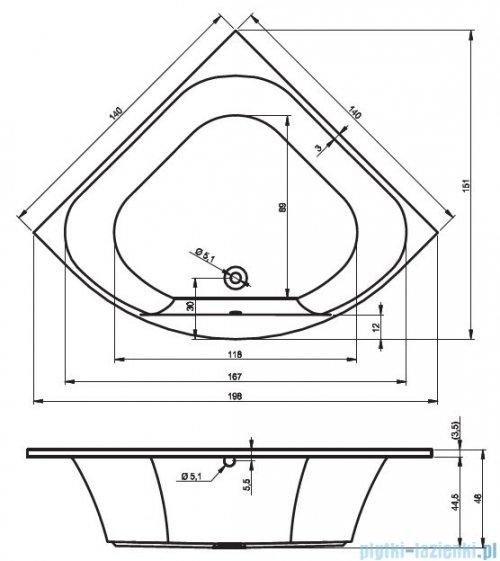 Riho Atlanta wanna symetryczna 140x140 z hydromasażem TOP Aero19 BB70T1
