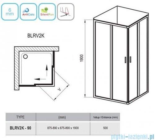 Ravak Blix BLRV2K drzwi prysznicowe 1/2 90cm aluminium grape Anticalc 1XV70C00ZG
