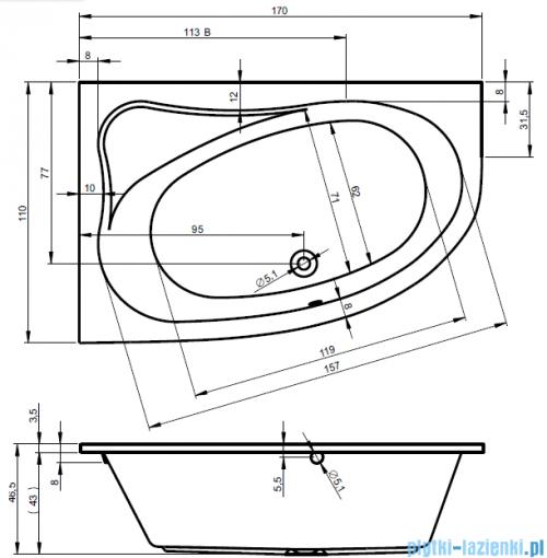 Riho Lyra wanna asymetryczna 170x110cm prawa nóżki BA63/07