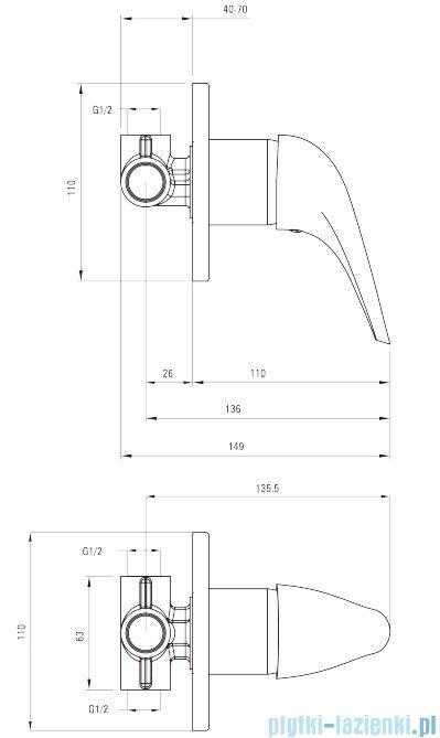 Deante Jaguar Line bateria natryskowa podtynkowa bez przełącznika natrysku chrom BDX 044L